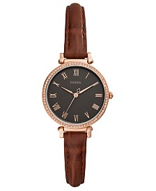 Fossil Women's Kinsey Brown Leather Strap Watch 28mm