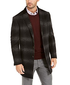Orange Men's Slim-Fit Dark Gray Windowpane Plaid Overcoat