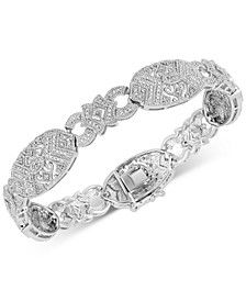Diamond Filigree Link Bracelet (1/4 ct. t.w.) in Sterling Silver