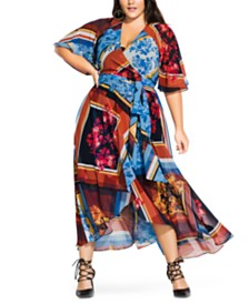 City Chic Trendy Plus Size Golden Rose Printed Wrap Maxi Dress