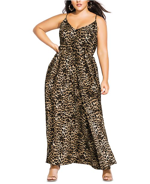 City Chic Trendy Plus Size Leopard-Print Maxi Dress ...