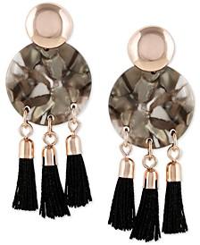 Rose Gold-Tone Tortoise-Look & Tassel Drop Earrings