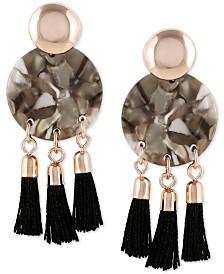 GUESS Rose Gold-Tone Tortoise-Look & Tassel Drop Earrings