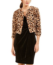 Animal-Print Faux-Fur Shrug