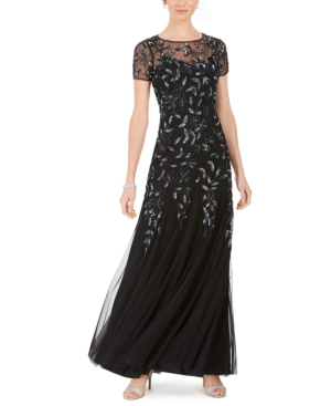 Art Deco Dresses | Art Deco Fashion, Clothing Adrianna Papell Floral-Beaded Gown $300.00 AT vintagedancer.com