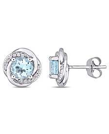 Blue Topaz (2 ct. t.w.) and Diamond (1/7 ct. t.w.) Swirl Stud Earrings in 10k White Gold