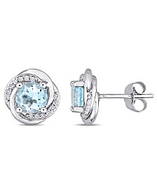 Blue Topaz (2 ct. t.w.) and Diamond (1/7 ct. t.w.) Swirl Stud Earrings in 10k White Gold