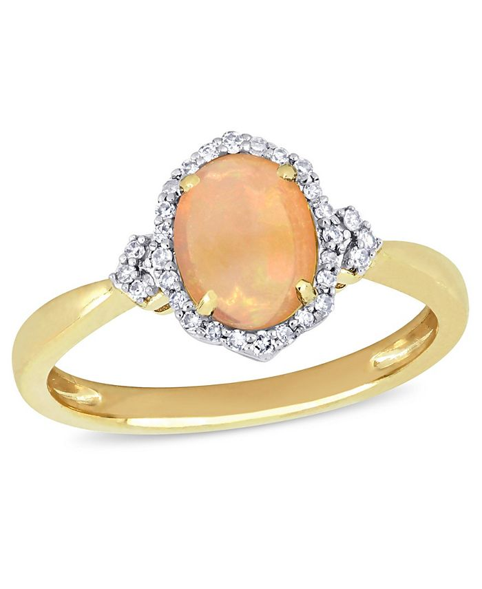 Macy's - Yellow Opal (3/4 ct. t.w.) and Diamond (1/8 ct. t.w.) Halo Ring 10k Yellow Gold