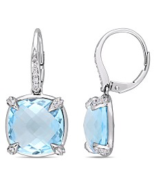 Blue Topaz (18 ct. t.w.), White Sapphire (1/5 ct. t.w.) and Diamond Accent Drop Earrings in 14k White Gold