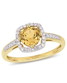 Citrine (3/4 ct. t.w.) and Diamond (1/7 ct. t.w.) Halo Ring in 10k Yellow Gold