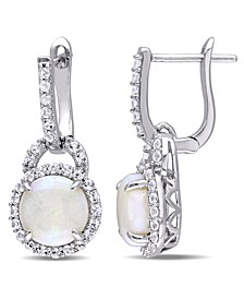 Opal (2-1/5 ct. t.w.) and White Topaz (7/8 ct. t.w.) Hinged Hoop Charm Earrings in Sterling Silver