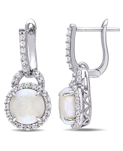 Macy's Opal (2-1/5 ct. t.w.) and White Topaz (7/8 ct. t.w.) Hinged Hoop Charm Earrings in Sterling Silver