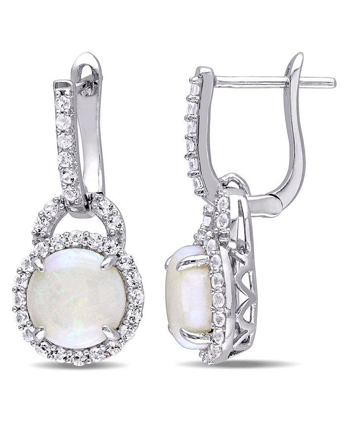 Macy's - Opal (2-1/5 ct. t.w.) and White Topaz (7/8 ct. t.w.) Hinged Hoop Charm Earrings in Sterling Silver