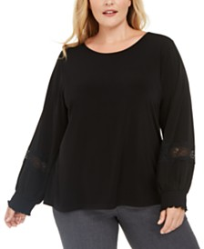 Calvin Klein Plus Size Lace Sleeve Top
