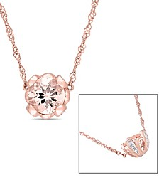 """Morganite (7/8 ct. t.w.) and White Topaz (1/10 ct. t.w.) Floral 18"""" Necklace in 10k Rose Gold"""