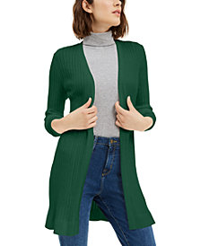 Maison Jules Ribbed Open Cardigan Sweater, Created For Macy's