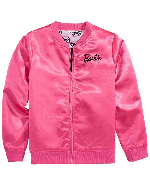Barbie Big Girls Satin Bomber Jacket