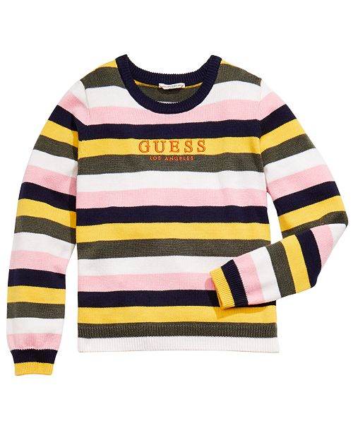 GUESS Big Girls Embroidered Striped Sweater