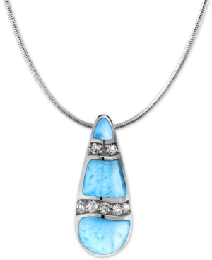 """Larimar & White Topaz (1/4 ct. t.w.) 21"""" Adjustable Pendant Necklace in Sterling Silver"""