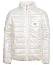 GUESS Big Girls Hooded Iridescent Camo-Print Puffer Jacket