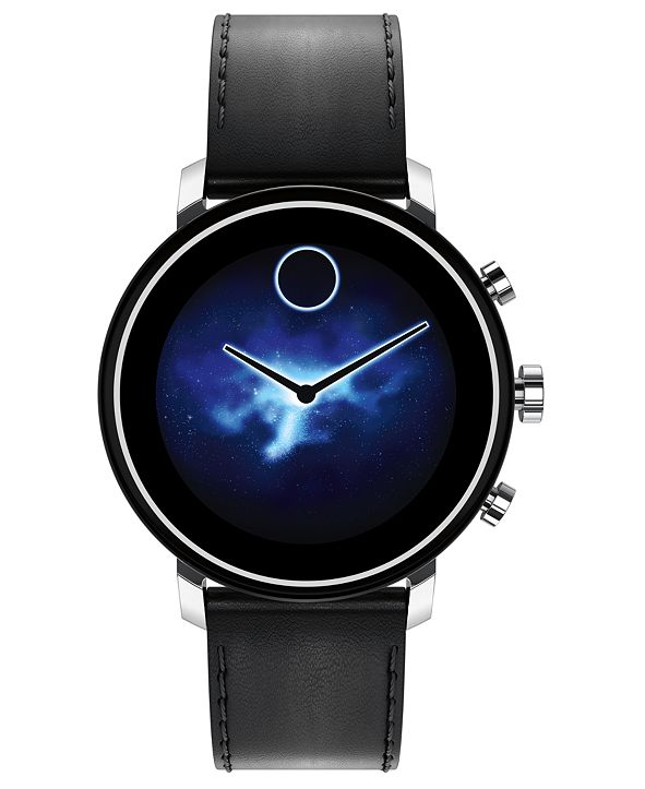 Movado Connect 2.0 Black Leather Strap Touchscreen Smart Watch 42mm