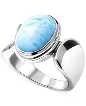 Larimar (10 x 12mm) Oval Statement Ring in Sterling Silver