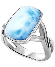 Larimar (9 x 15mm) Statement Ring in Sterling Silver