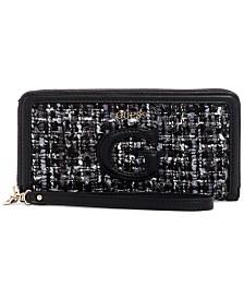 GUESS Chrissy Tweed Zip-Around Wallet