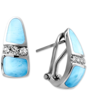 Larimar & White Topaz (1/4 ct. t.w.) Curved Drop Earrings in Sterling Silver