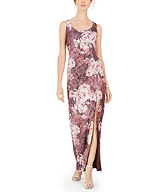 Metallic Floral-Print Gown