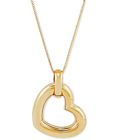 "Italian Gold Polished Puff Heart 18"" Pendant Necklace in 14k Gold"