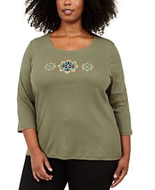 Plus Size Cotton Sequined Graphic Top, Created For Macy's