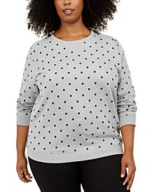 Plus Size Dotted Fleece Crewneck Top, Created for Macy's