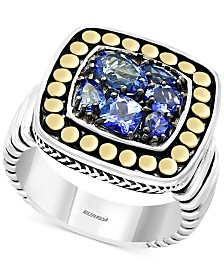 EFFY® Tanzanite Cluster Ring (1-1/3 ct. t.w.) in Sterling Silver and 18k Gold