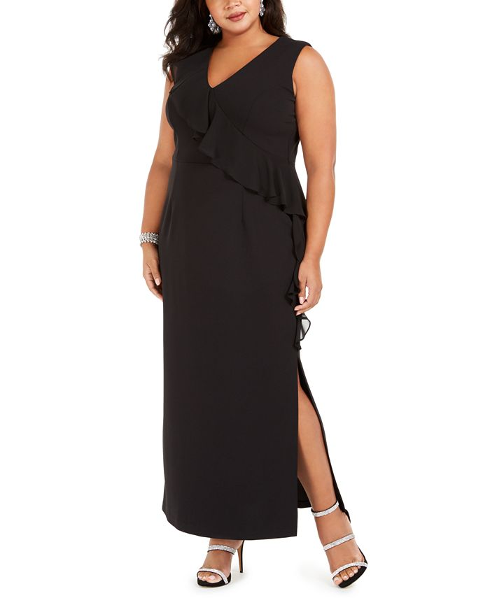 Connected - Plus Size V-Neck Ruffle Dress