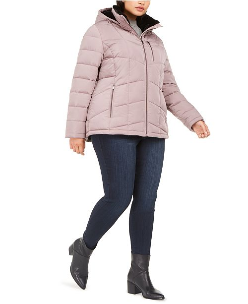 Calvin Klein Plus Size Faux-Fur-Lined Hooded Puffer Coat, Created for Macy's