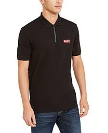Men's Cotton Striped-Logo Zipper Polo Shirt