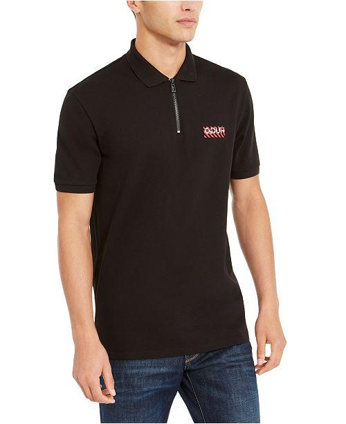 HUGO Men's Cotton Striped-Logo Zipper Polo Shirt
