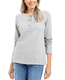 Karen Scott Lace-Up Sweatshirt, Created for Macy's