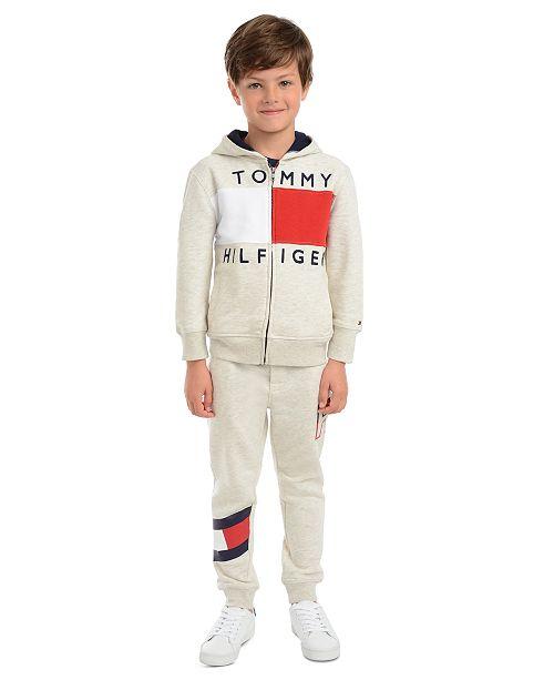 Tommy Hilfiger Little Boys Andrew Colorblocked Fleece Hoodie & Kent Logo Sweatpants