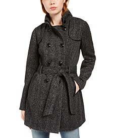 Juniors' Faux-Leather-Trim Belted Tweed Coat