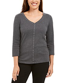 V-Neck Studded Top, Created for Macy's