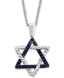 "EFFY® Sapphire Star of David 18"" Pendant Necklace (1/3 ct. t.w.) in Sterling Silver"