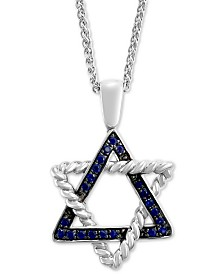 """EFFY® Sapphire Star of David 18"""" Pendant Necklace (1/3 ct. t.w.) in Sterling Silver"""