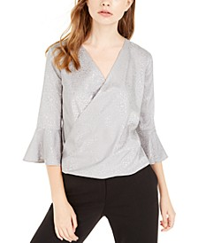 Juniors' Silver Animal-Print Wrap Top