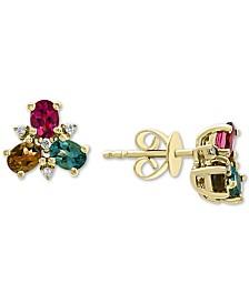 EFFY® Multi-Color Tourmaline (1-1/10 ct. t.w.) & Diamond (1/20 ct. t.w.) Stud Earrings in 14k Gold