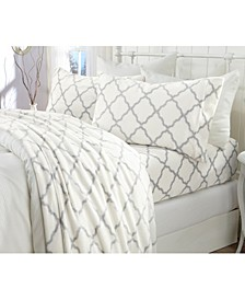 Great Bay Home Extra Soft Cozy Velvet Plush Printed Queen Sheet Set