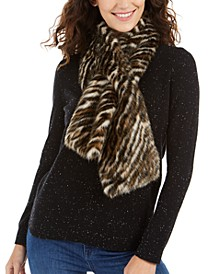 Tiger-Print Faux-Fur Pull-Through Scarf