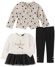 Baby Girls 3-Pc. Zip-Up Star Jacket, Peplum Top & Pants Set