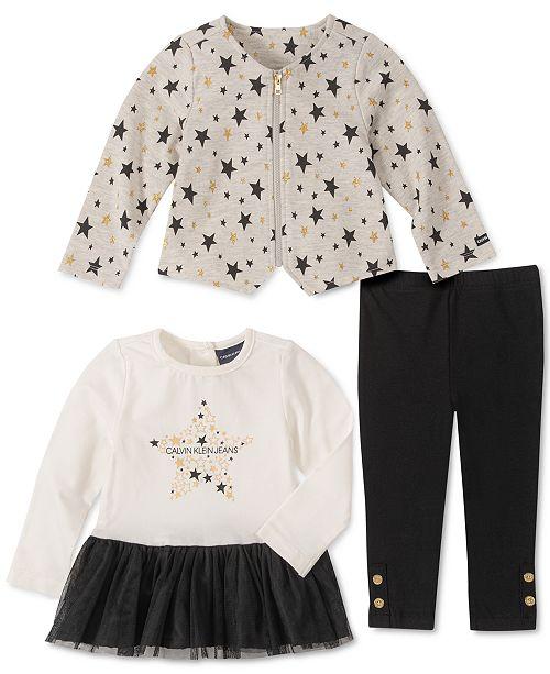 Calvin Klein Baby Girls 3-Pc. Zip-Up Star Jacket, Peplum Top & Pants Set
